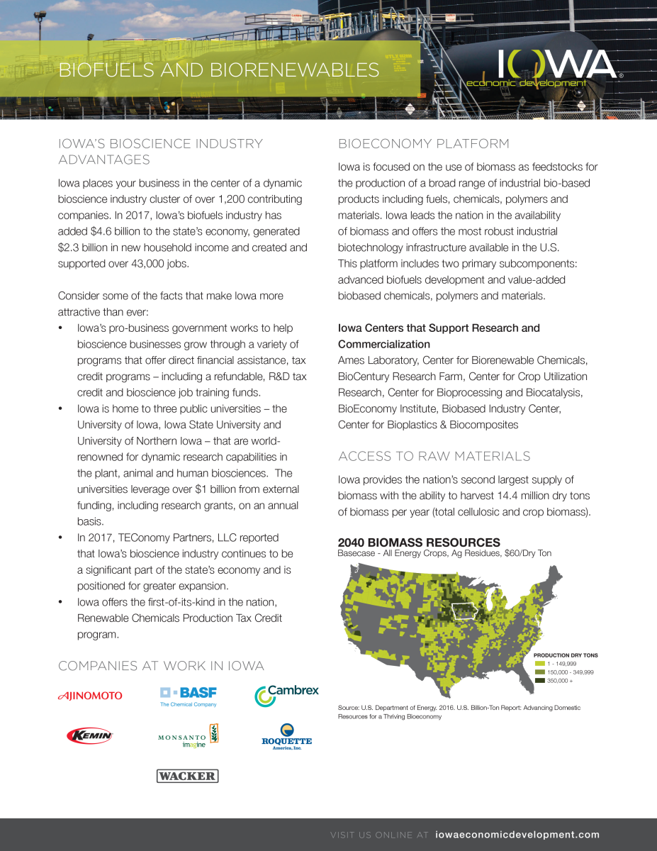 Biofuels and Biorenewables Fact Sheet